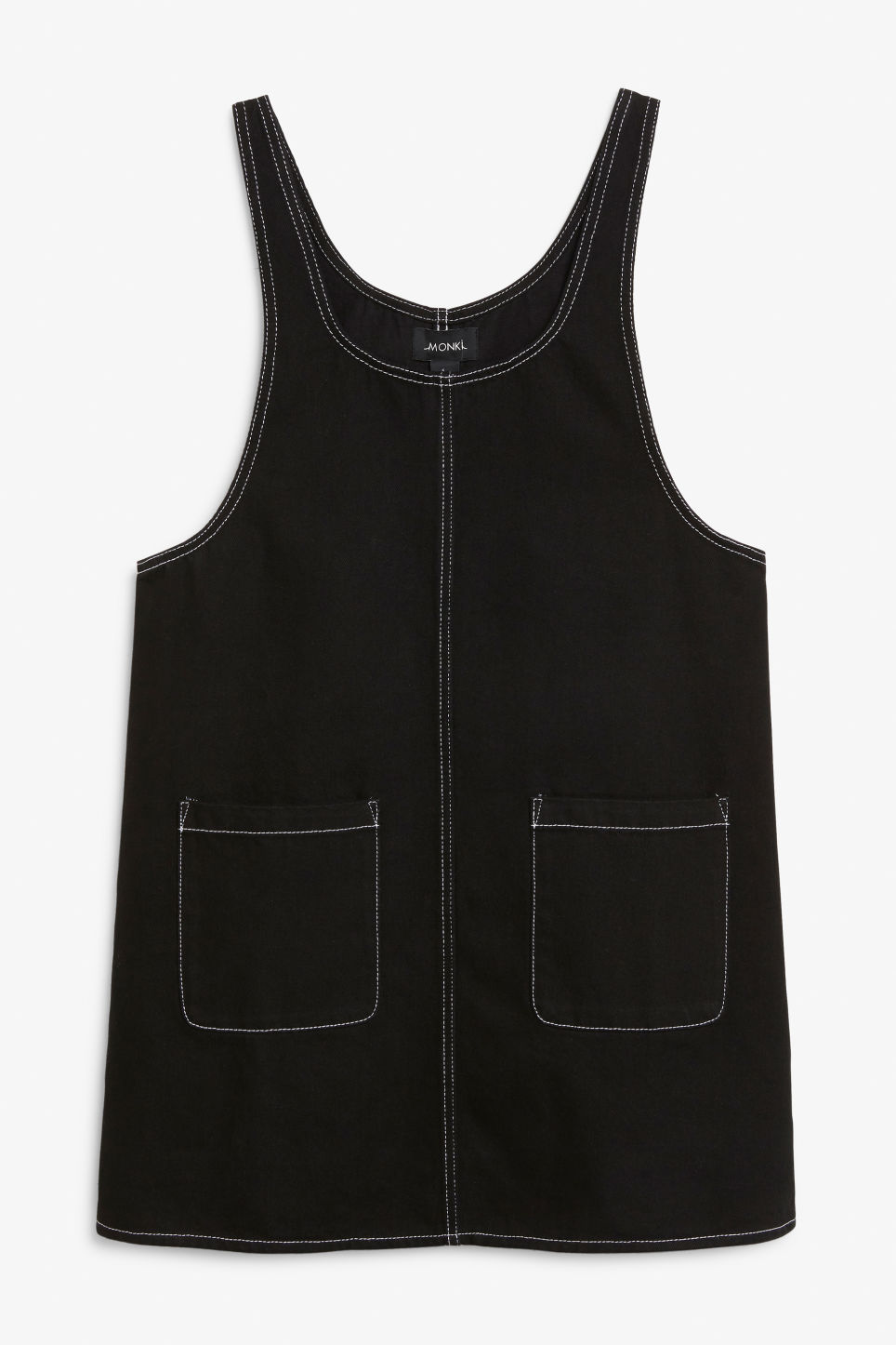Front image of Monki contrast stitch pinafore dress  in black