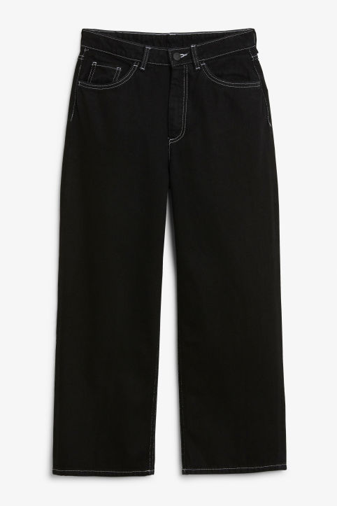 Front image of Monki mozik white seams jeans in black