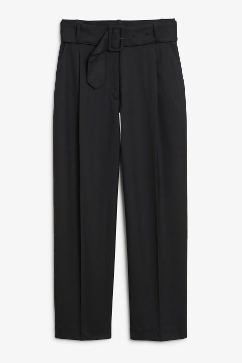 Front image of Monki belted dressy trousers in black