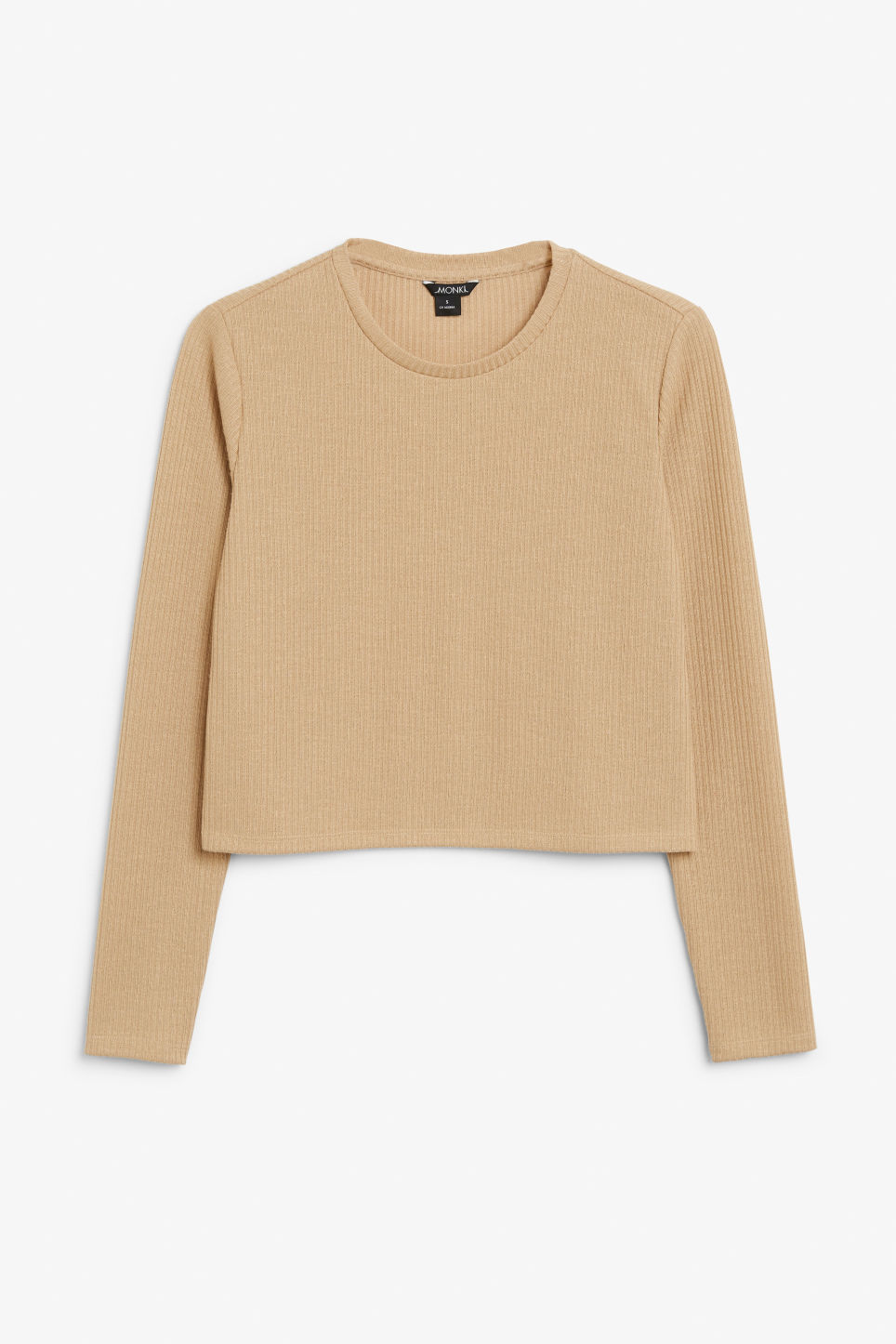Front image of Monki ribbed black top in beige