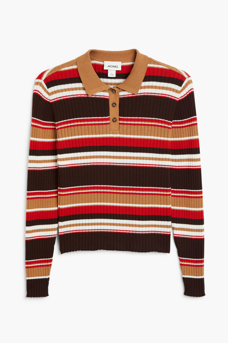 Front image of Monki ribbed polo top in brown