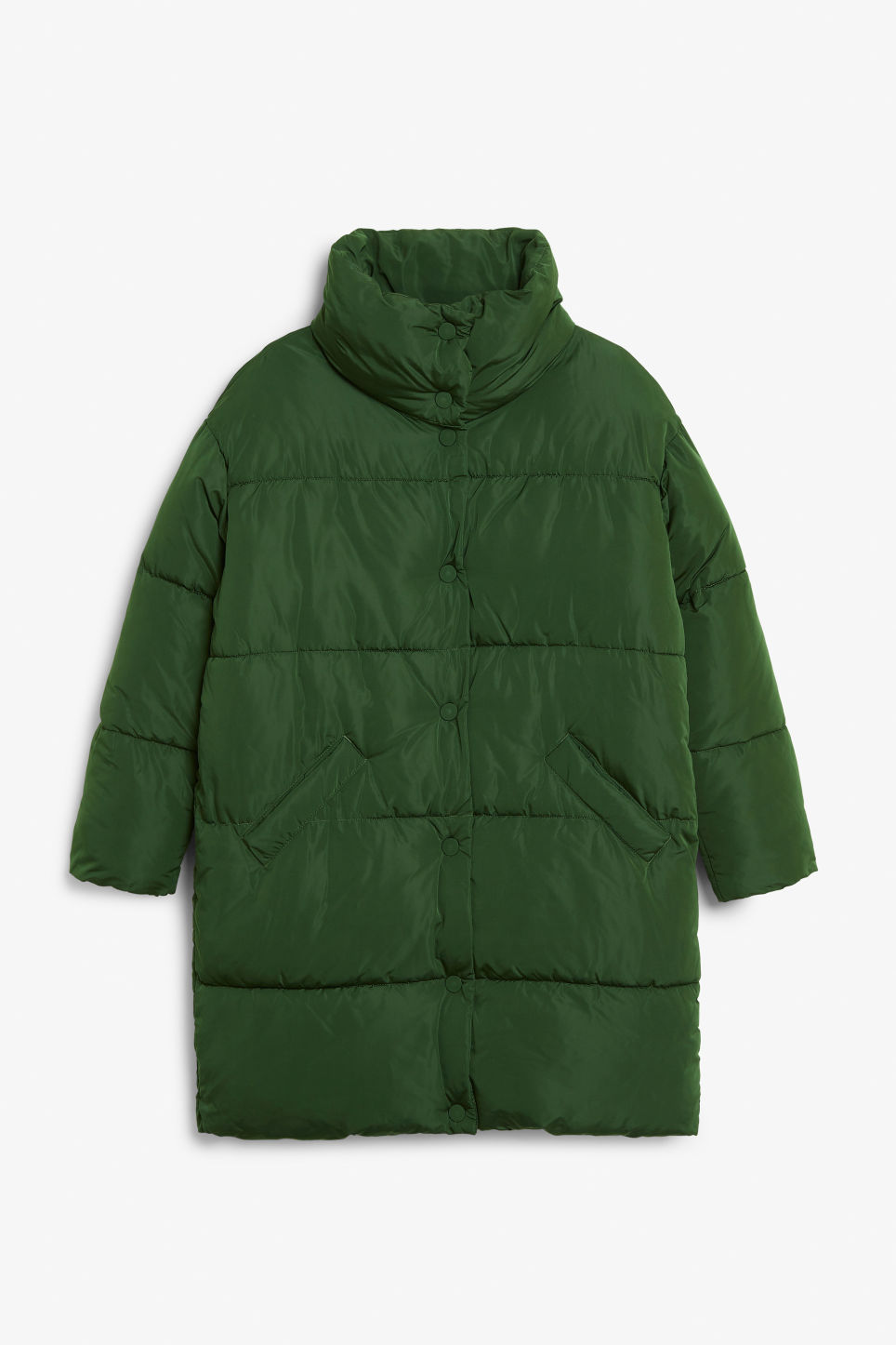 Front image of Monki oversized puffer coat in green