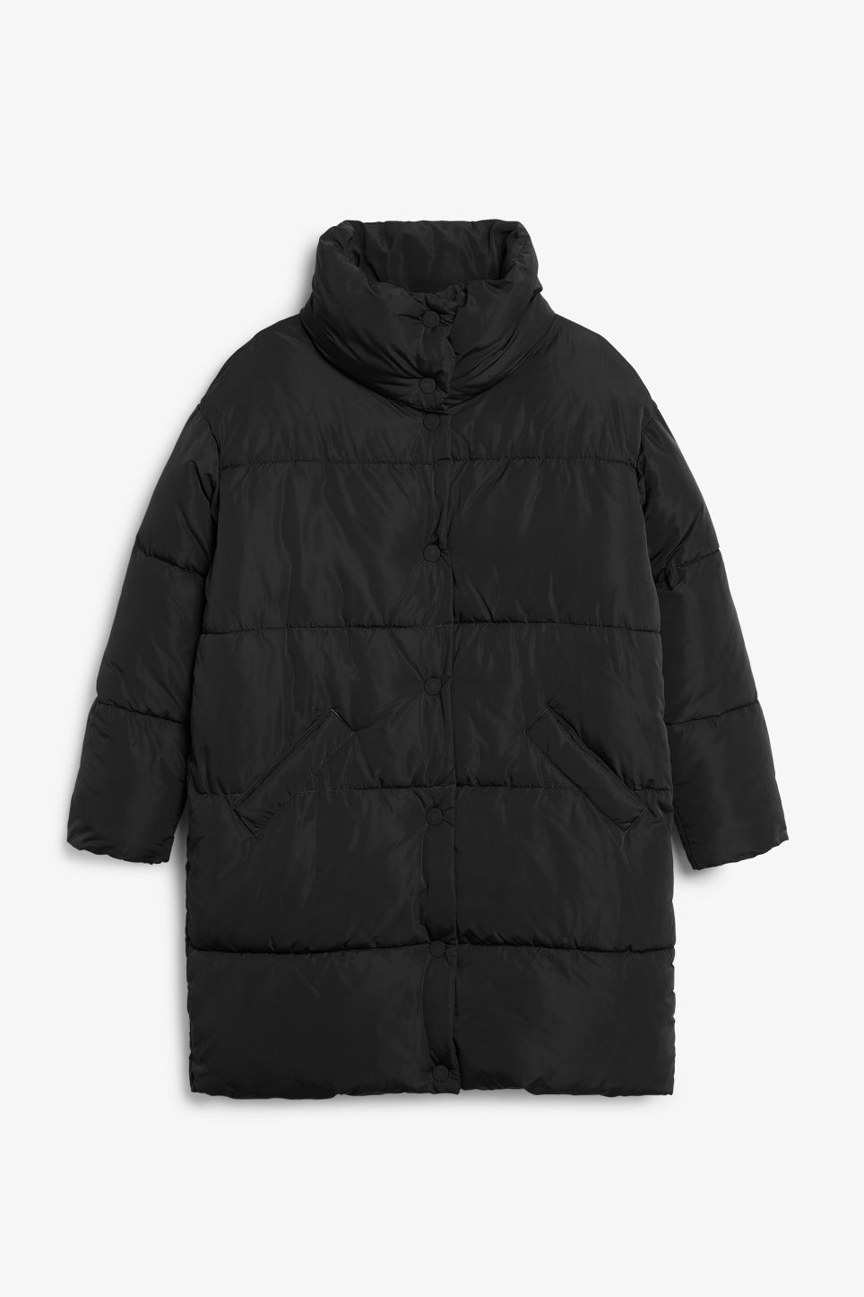 Front image of Monki long puffer coat in black