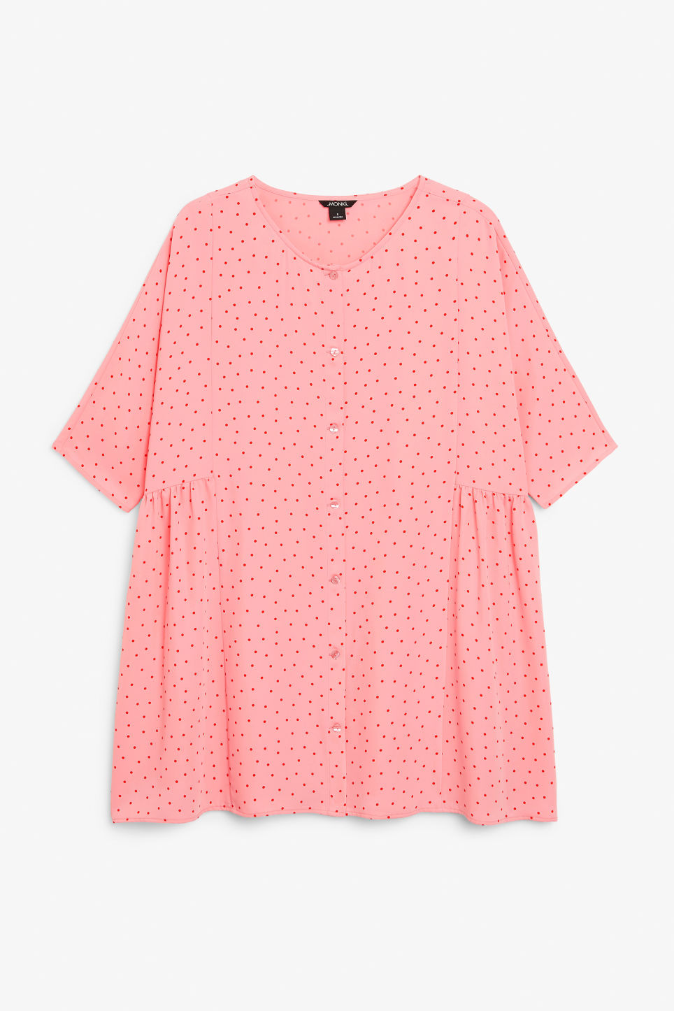 Front image of Monki oversized button-up dress in pink