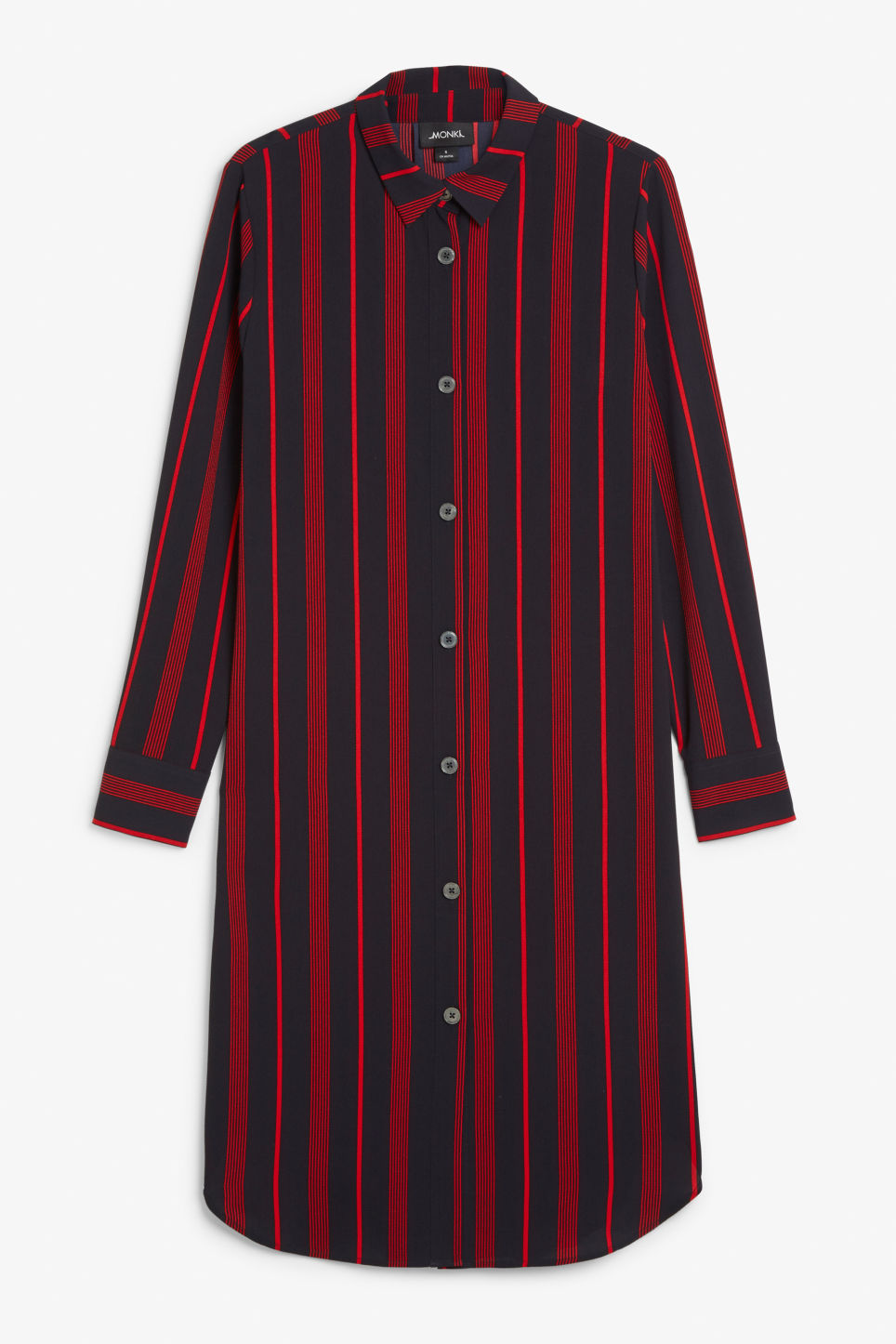 Front image of Monki long-sleeved shirt dress in blue