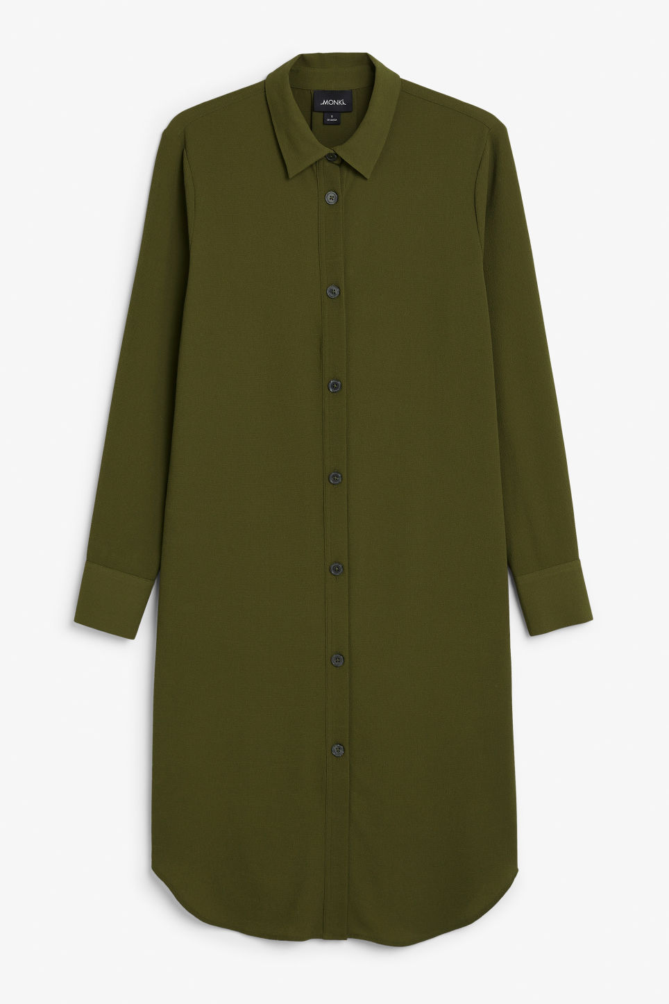 Front image of Monki flowy shirt dress in green