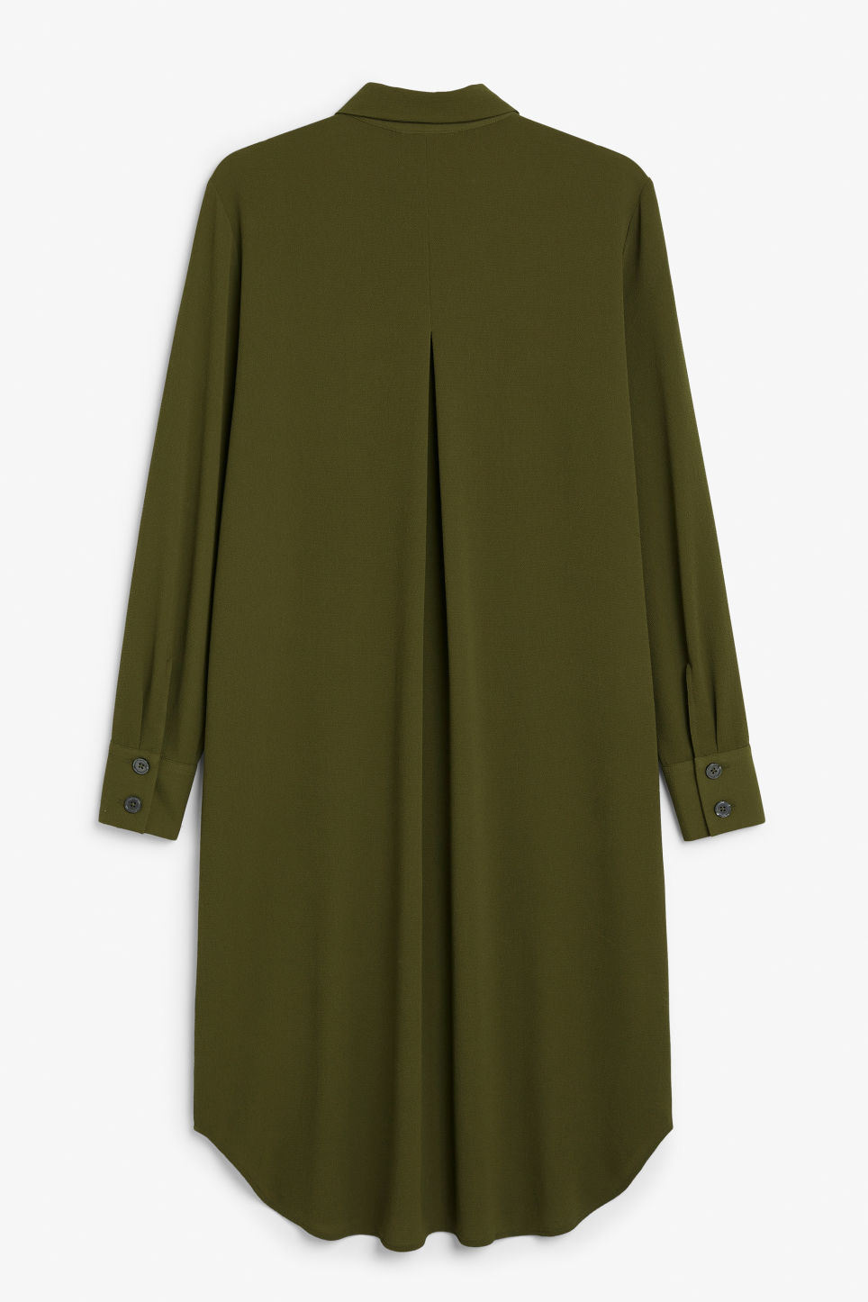 Back image of Monki flowy shirt dress in green