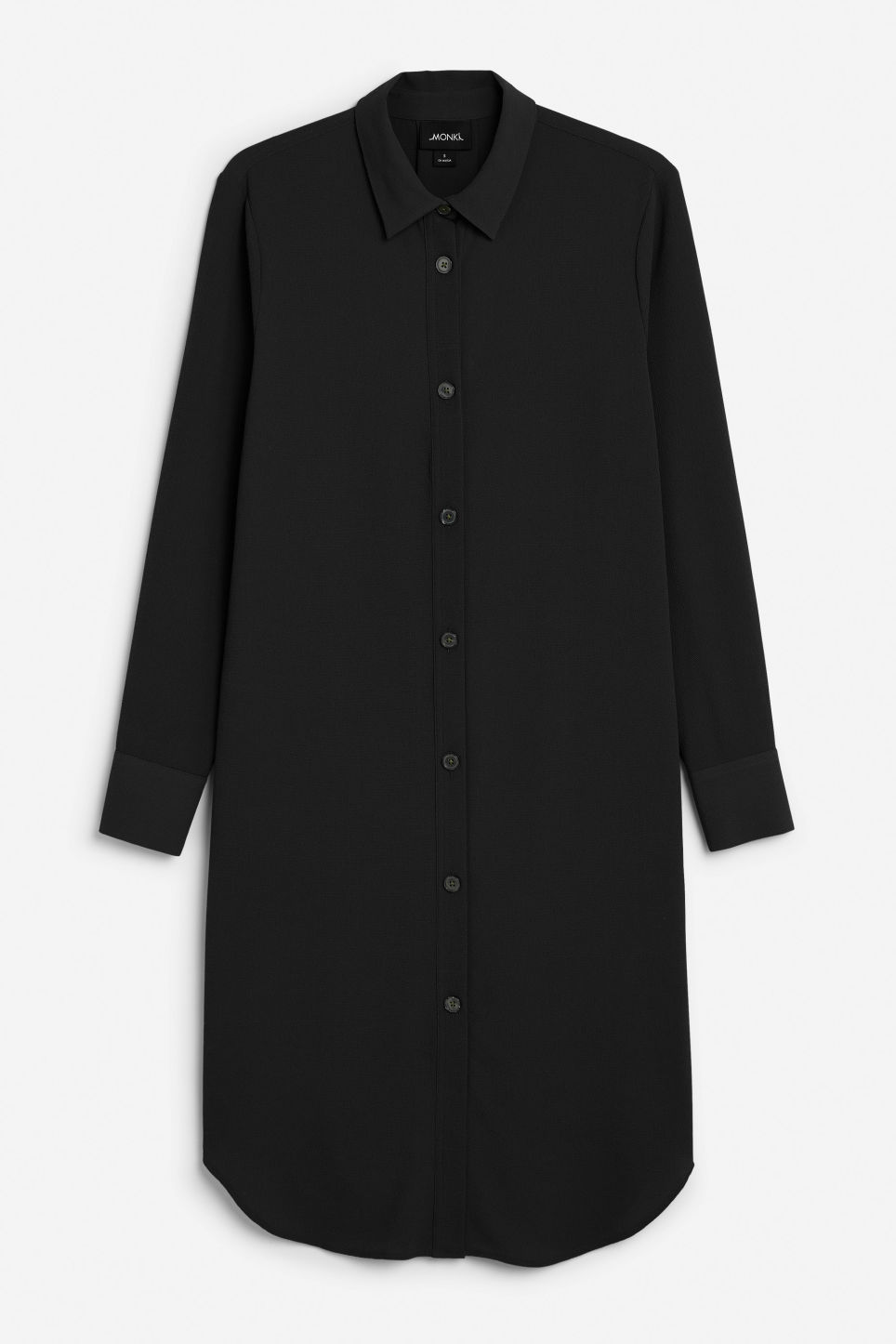 Front image of Monki flowy shirt dress in black