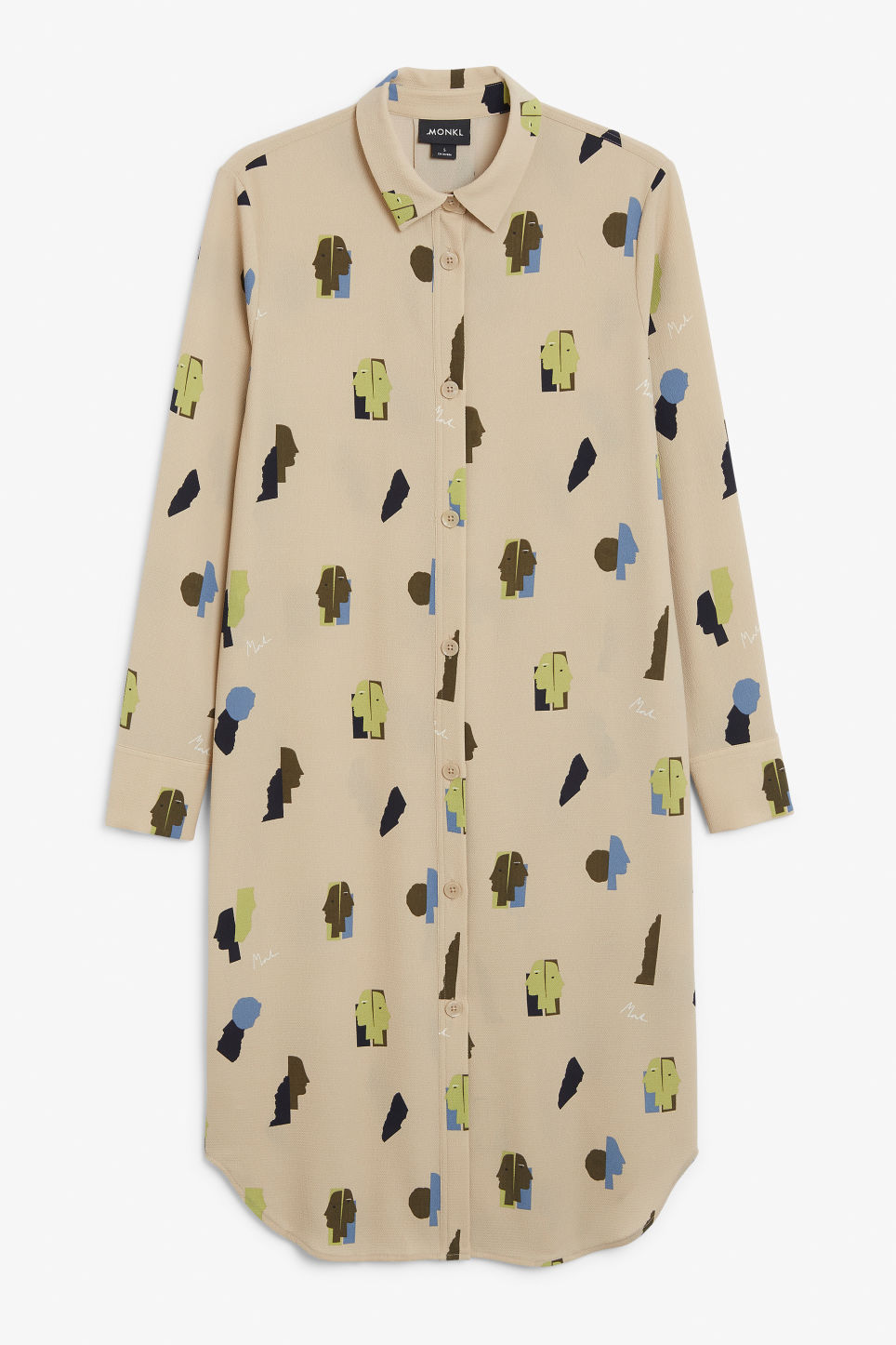 Front image of Monki long-sleeved shirt dress in beige
