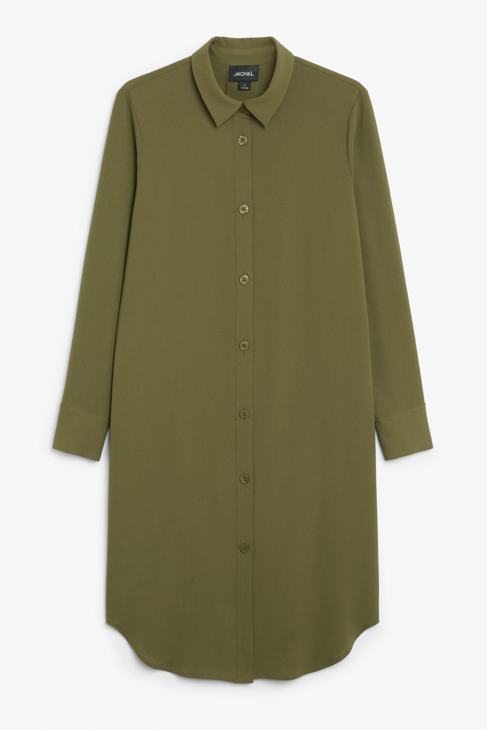 Front image of Monki long-sleeved shirt dress in green