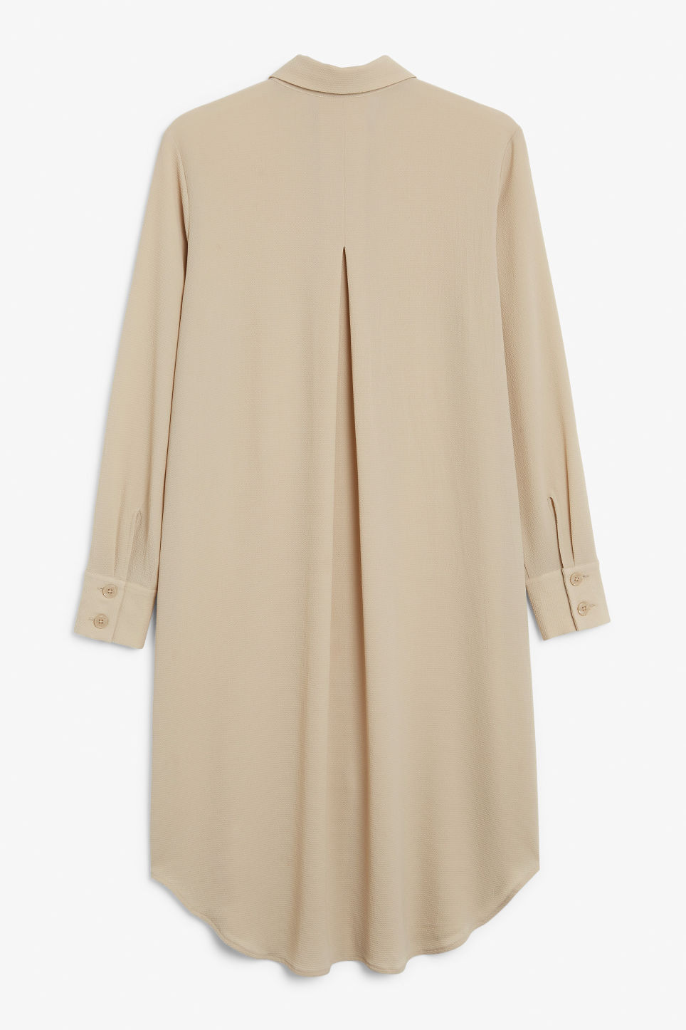 Back image of Monki long-sleeved shirt dress in beige