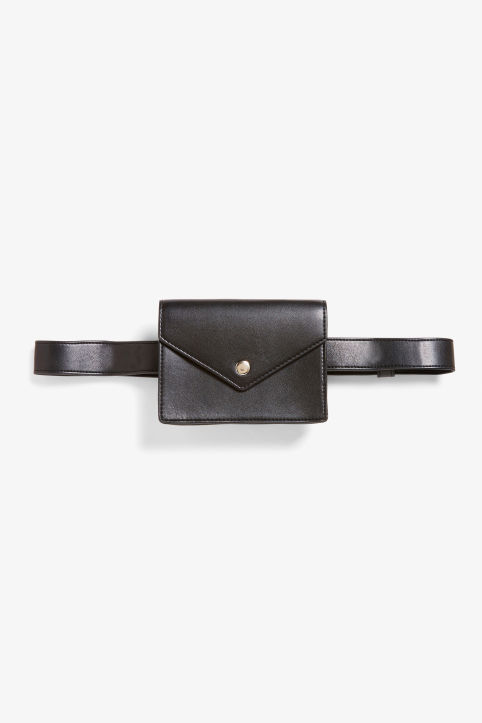 Faux leather wallet with belt