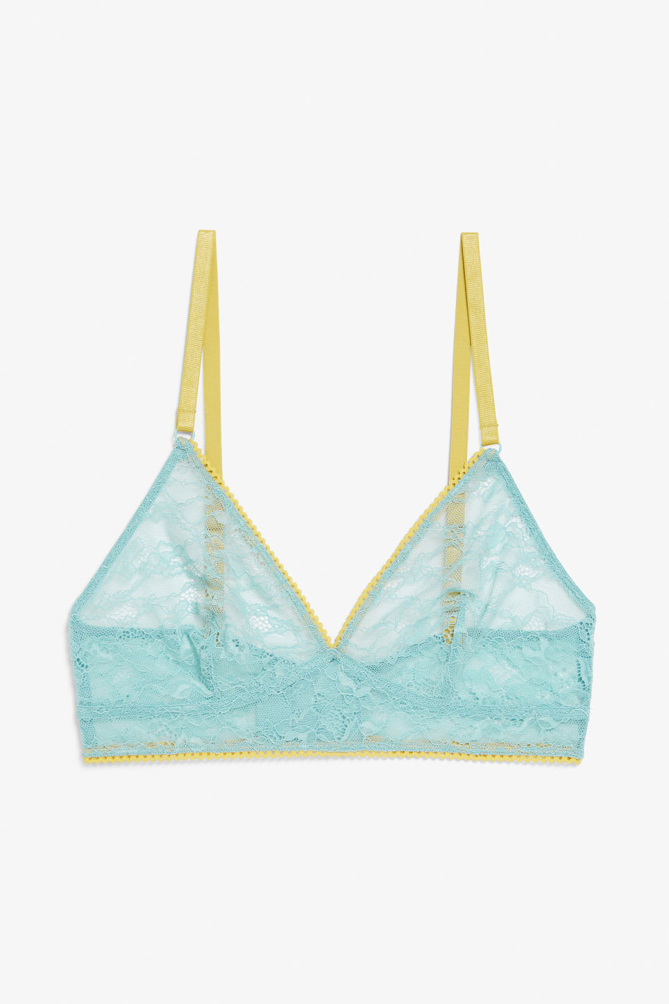 Front image of Monki triangle lace bra in turquoise