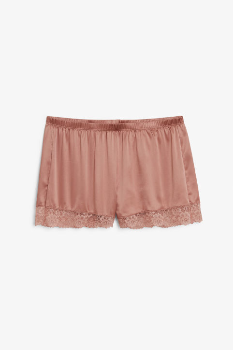 Front image of Monki silky pj shorts in pink