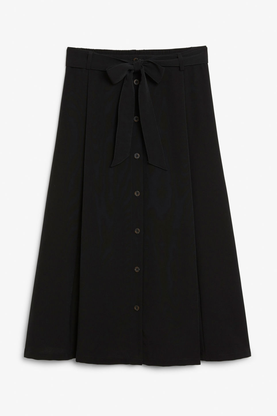 Front image of Monki button midi skirt in black
