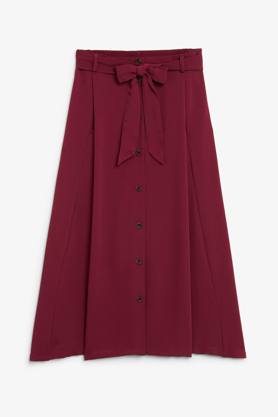 Front image of Monki button midi skirt in red