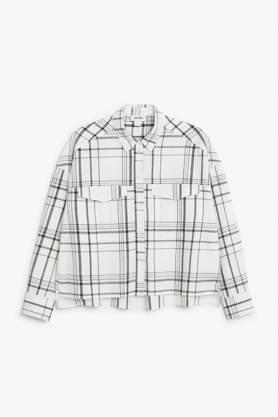 Front image of Monki flannel shirt in white