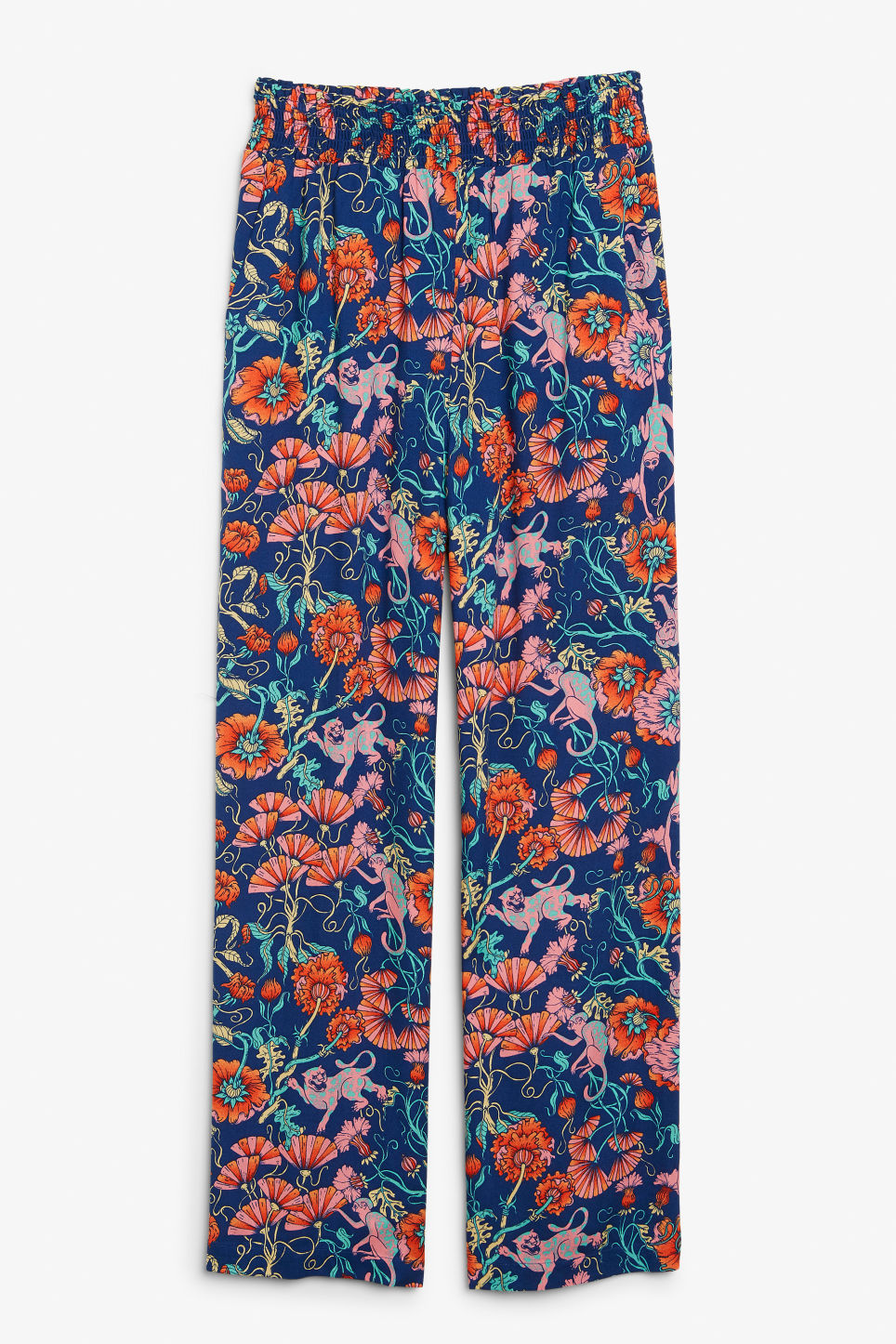 Front image of Monki viscose trousers in blue