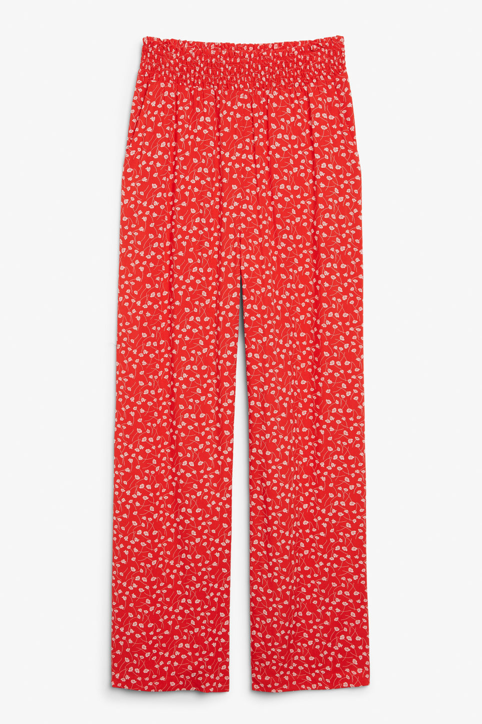 Front image of Monki viscose trousers in red