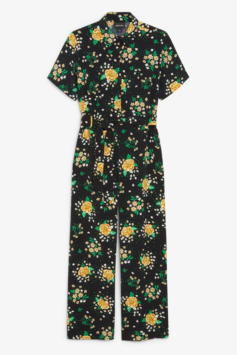 Front image of Monki belted jumpsuit in black