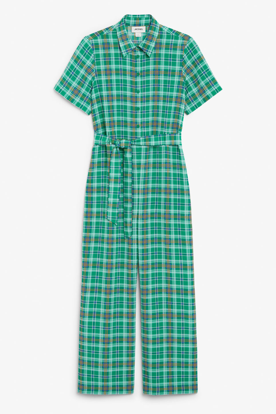 Front image of Monki belted jumpsuit in green