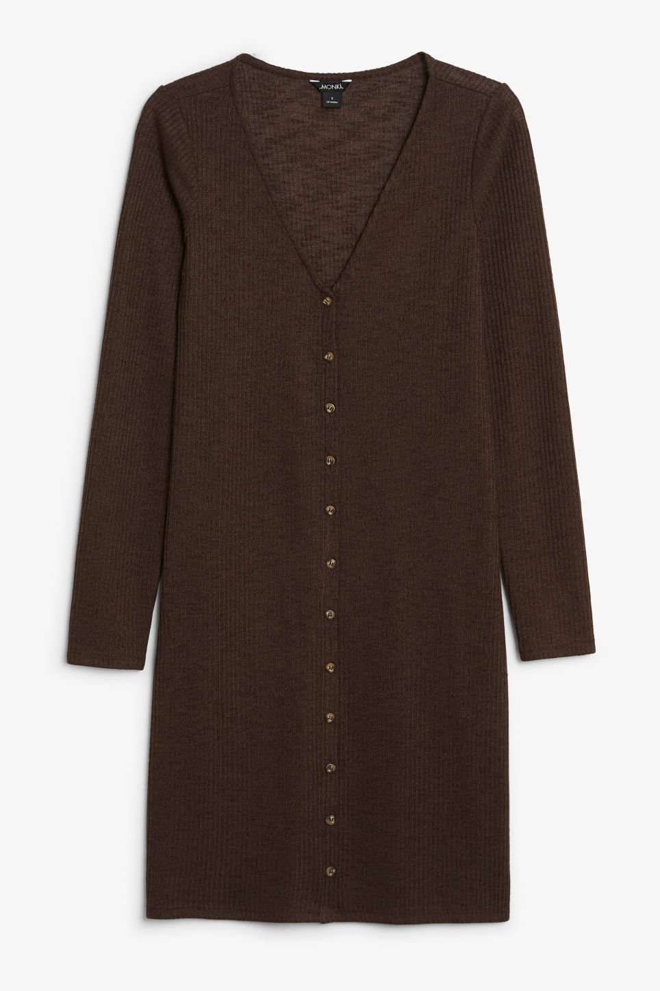 Front image of Monki button up long- sleeved dress in brown