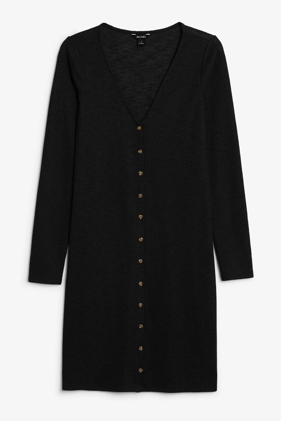 Front image of Monki button up long- sleeved dress in black