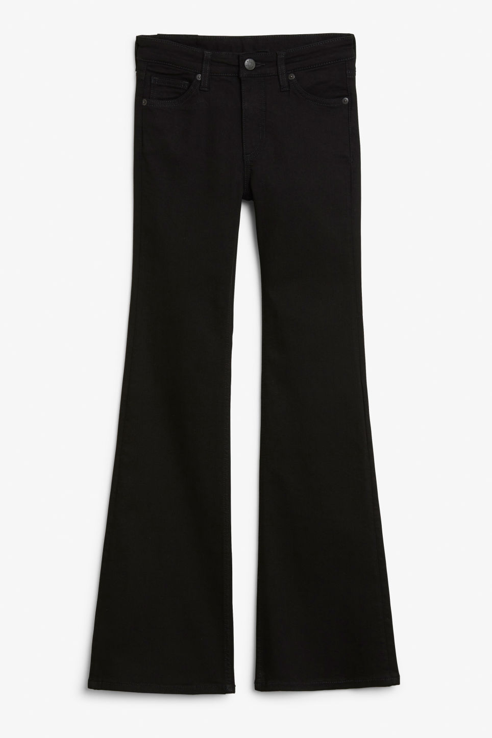 Front image of Monki mocki flare jeans in black