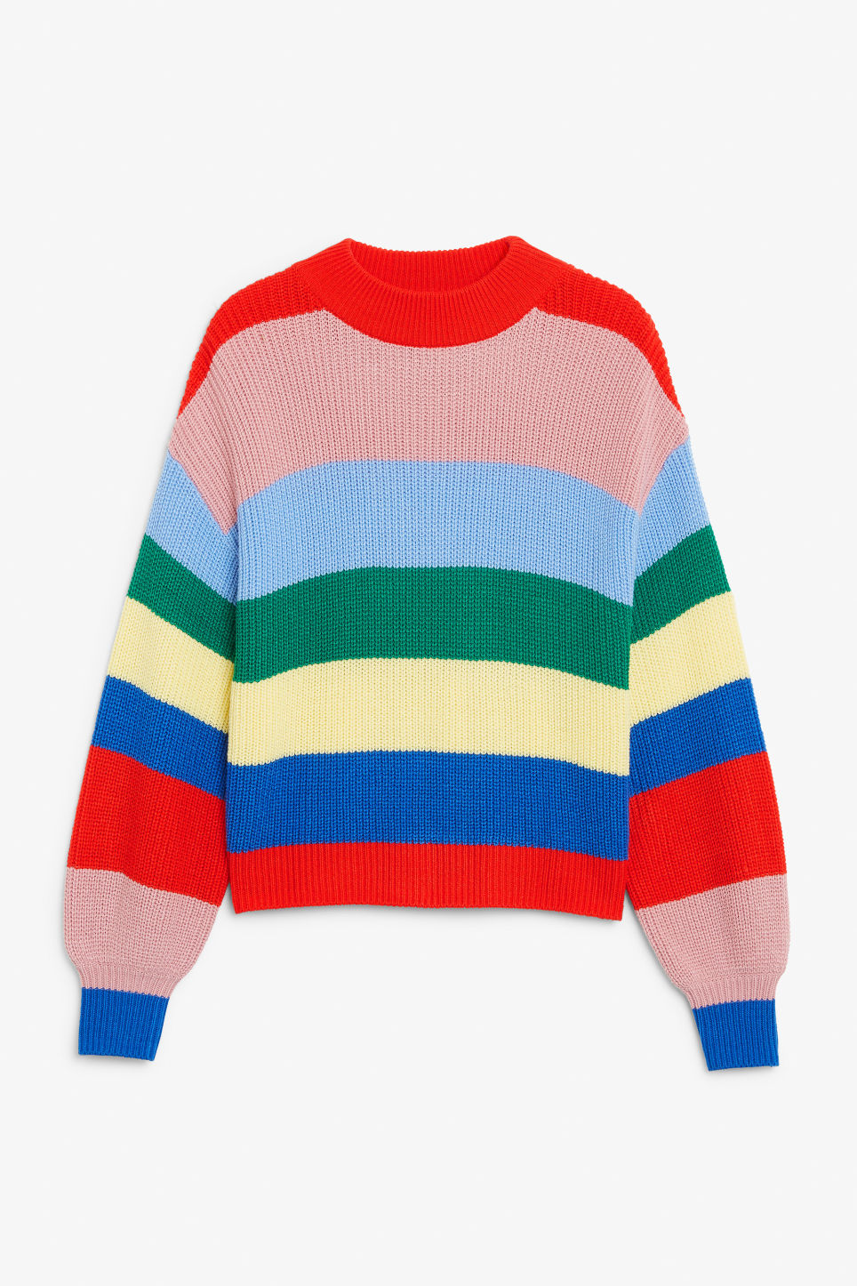 Front image of Monki crew neck knit sweater in pink