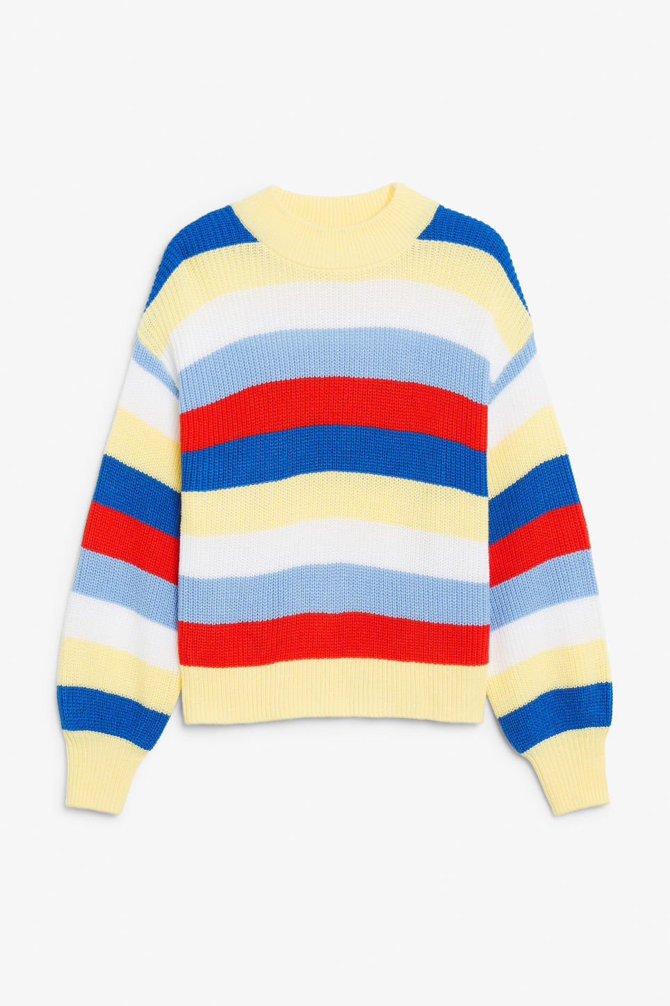 Front image of Monki crew neck knit sweater in yellow
