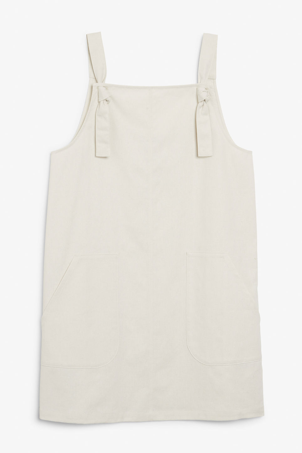 Front image of Monki pinafore dress in white