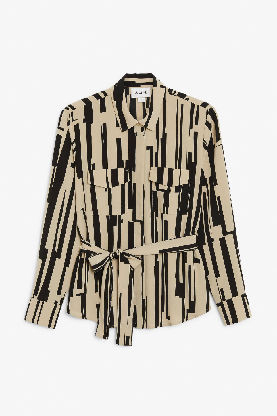 Front image of Monki belted blouse in beige