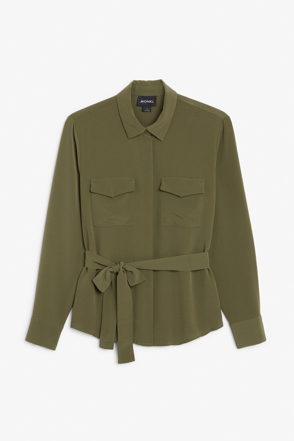 Front image of Monki belted blouse in green