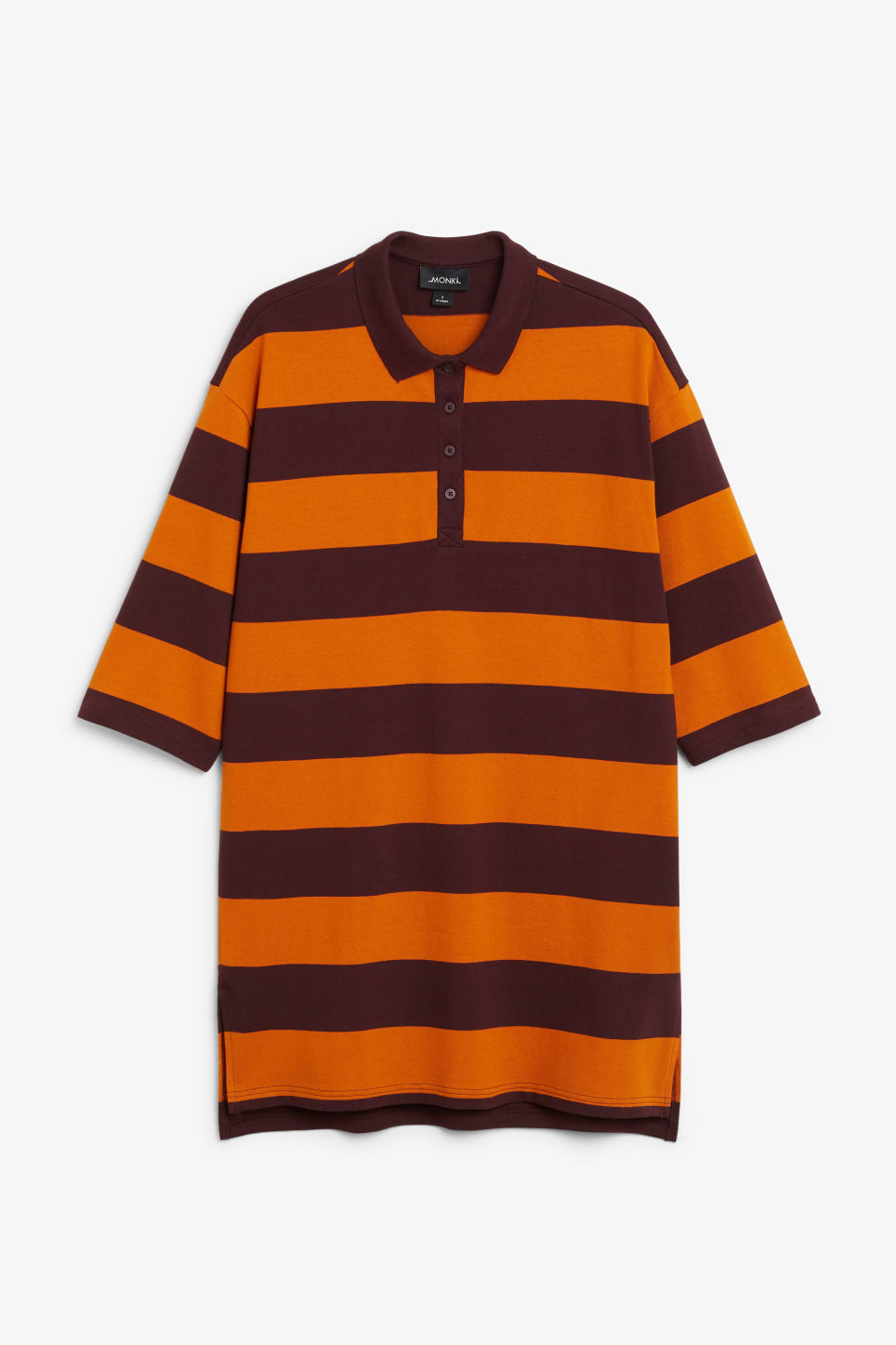 Front image of Monki long-sleeved polo dress in orange