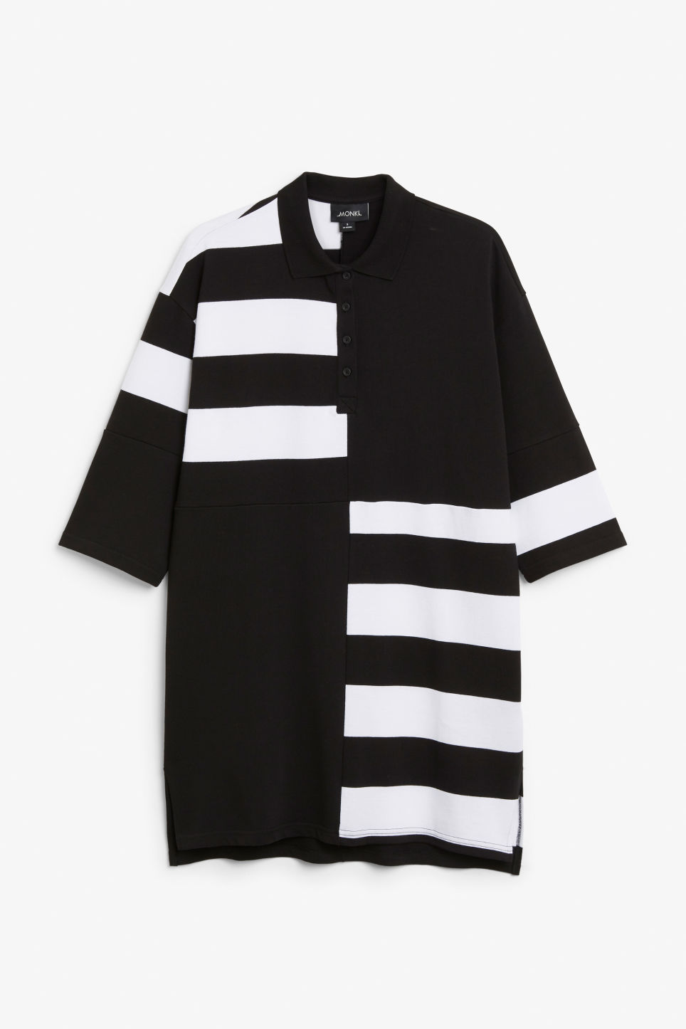 Front image of Monki long-sleeved polo dress in black