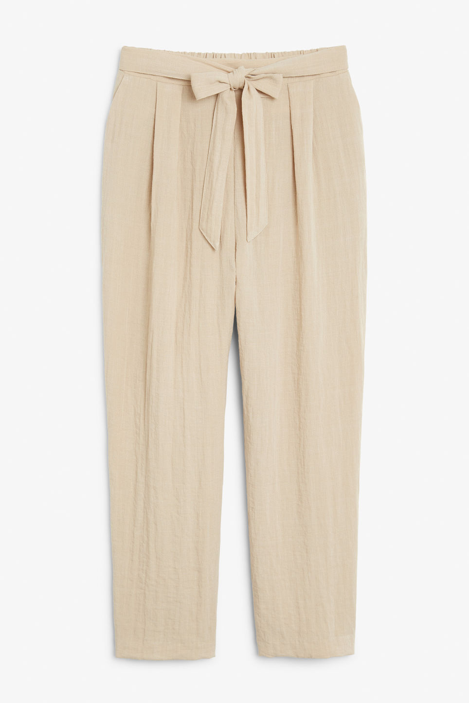 Front image of Monki wide belted trousers in beige