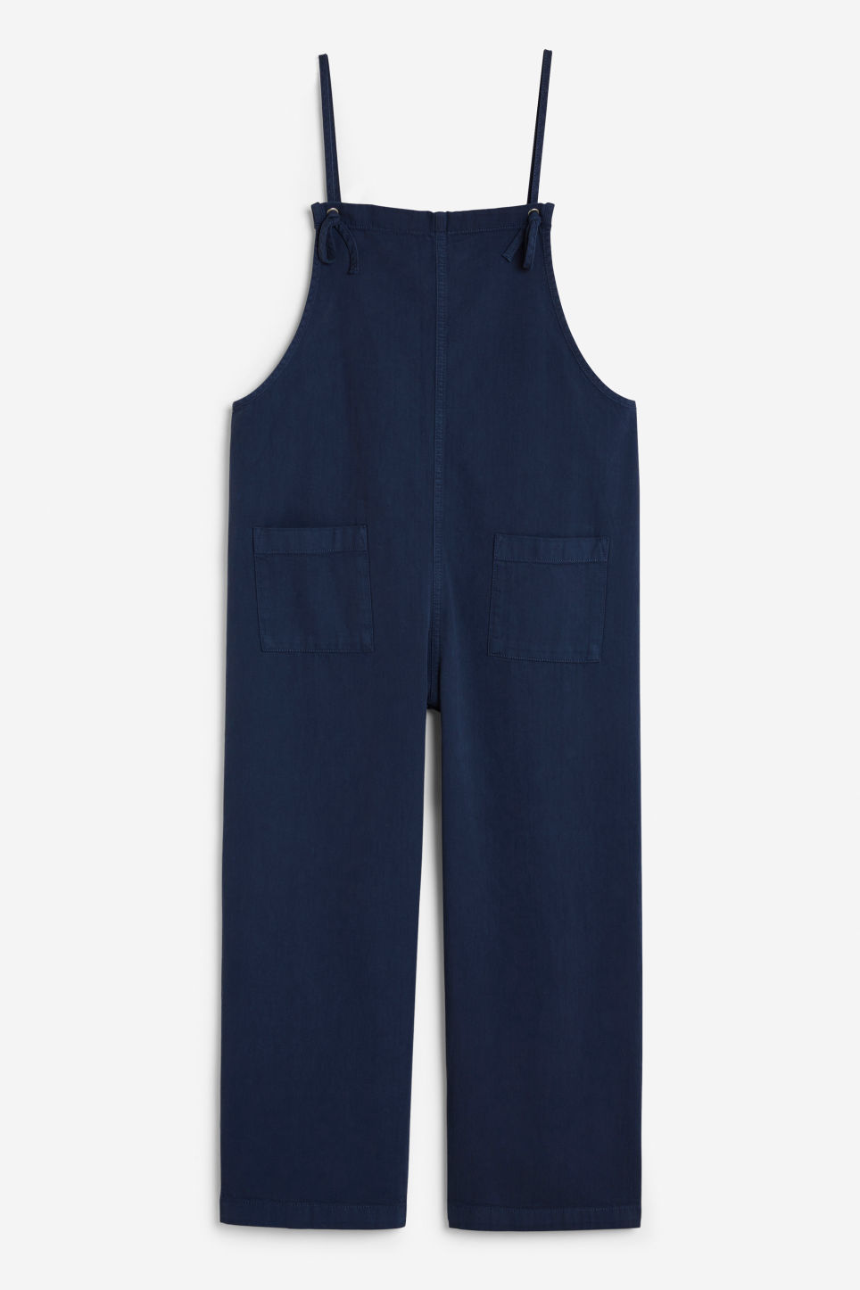 Front image of Monki cotton dungarees in blue