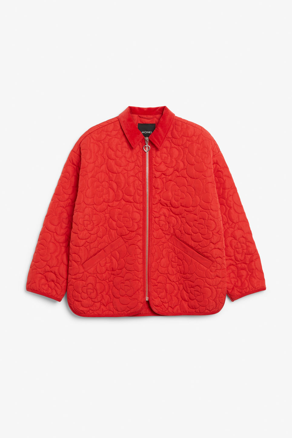 Front image of Monki quilted jacket in red