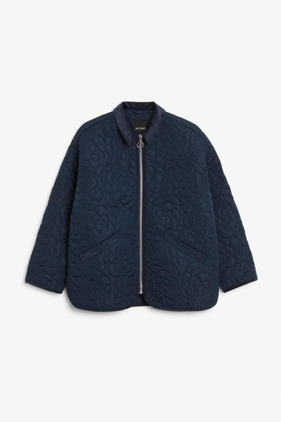 Front image of Monki quilted jacket in blue