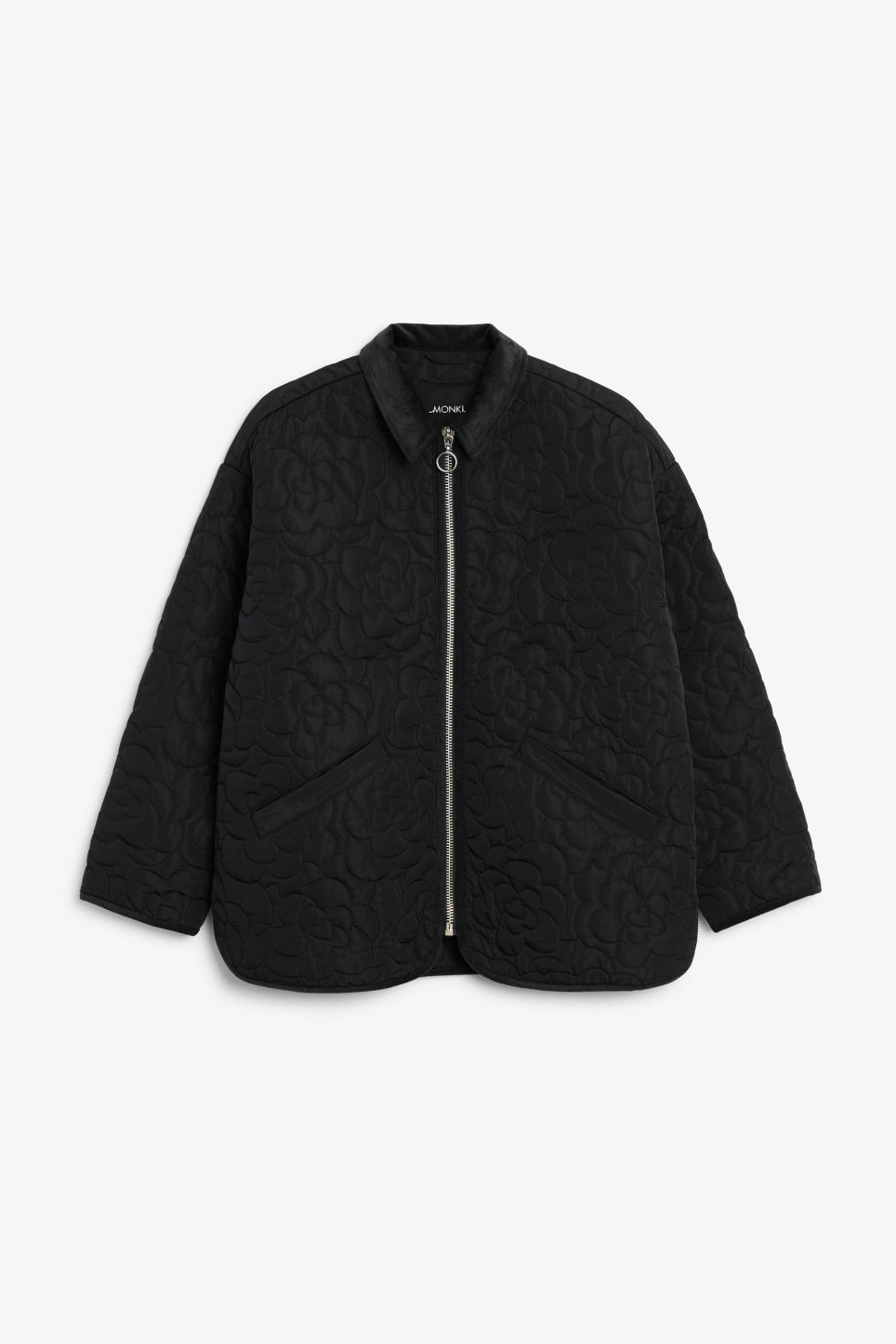 Front image of Monki quilted jacket in black