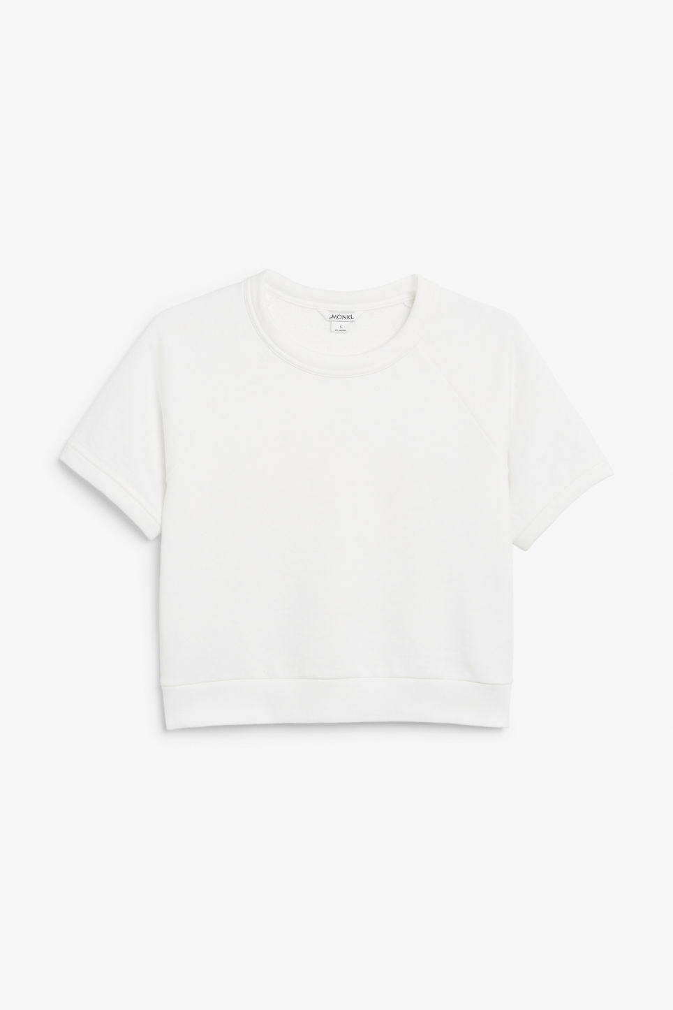 Front image of Monki short sleeved sweatshirt in white