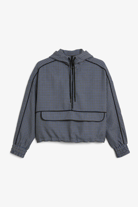 Front image of Monki houndstooth anorak  in blue