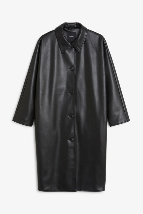 Oversized faux leather coat