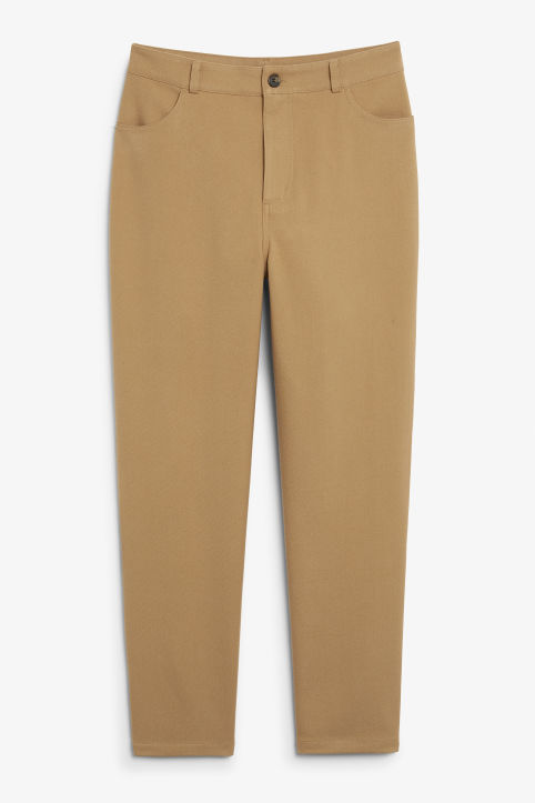 Front image of Monki relaxed suit trousers in beige