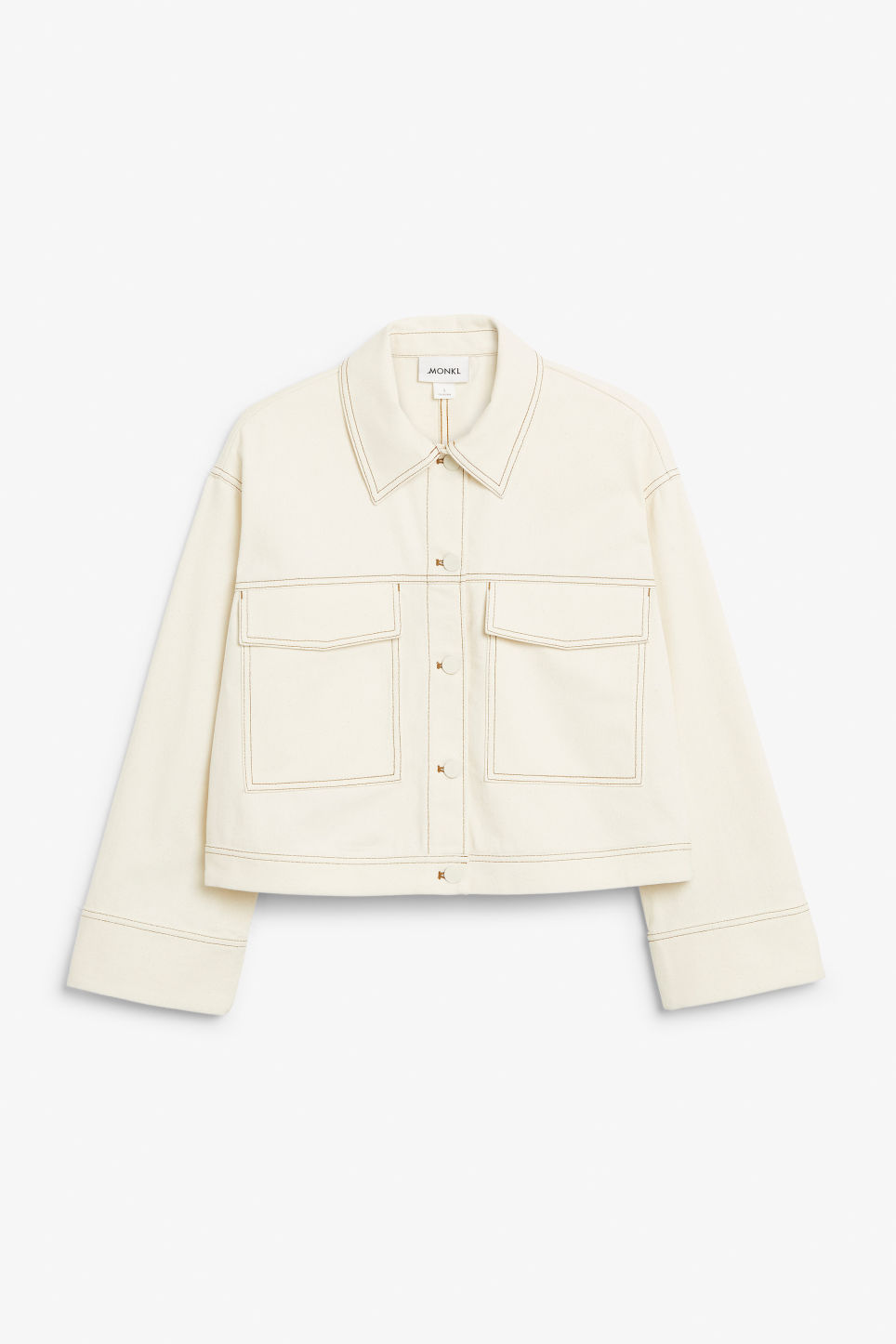 Front image of Monki cropped contrast stitch jacket in beige
