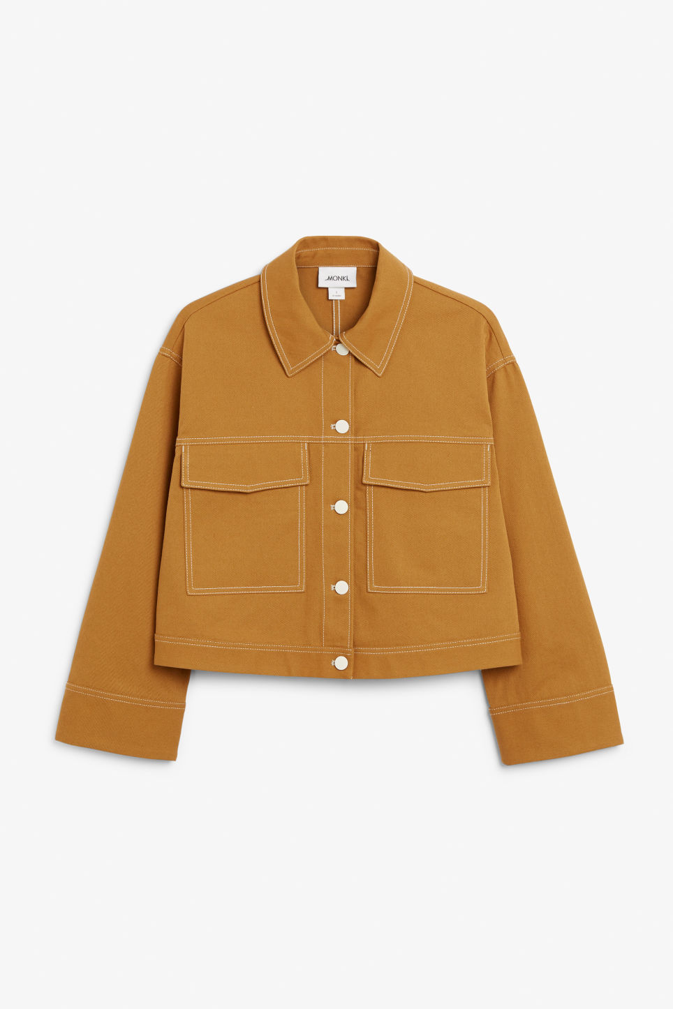 Front image of Monki cropped contrast stitch jacket in yellow