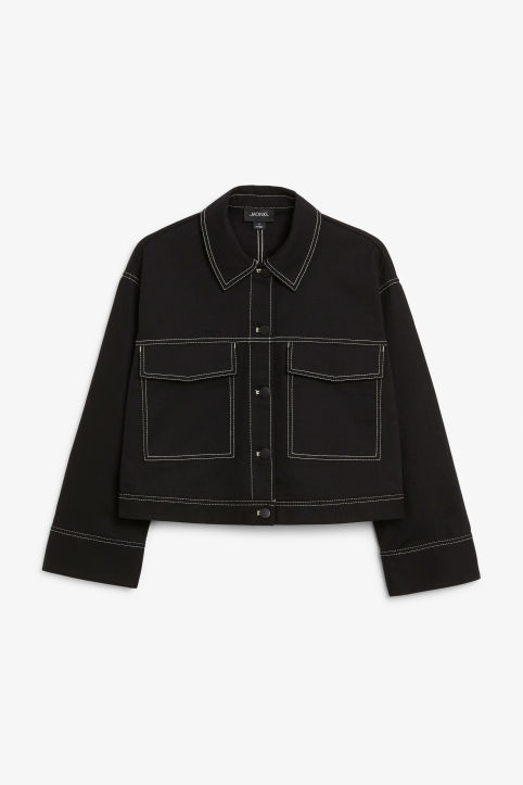 Front image of Monki cropped contrast stitch jacket in black