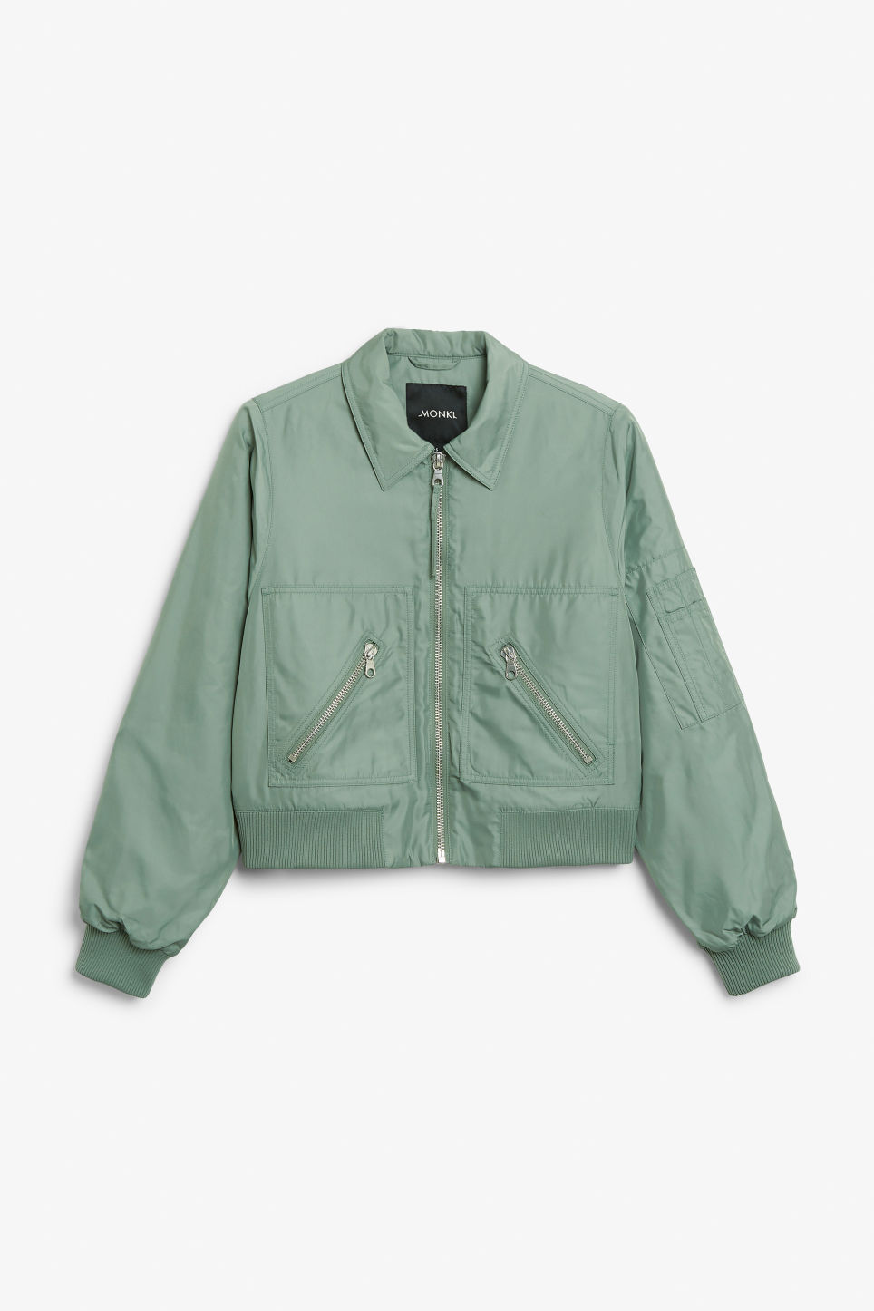 Front image of Monki boxy utility jacket in green