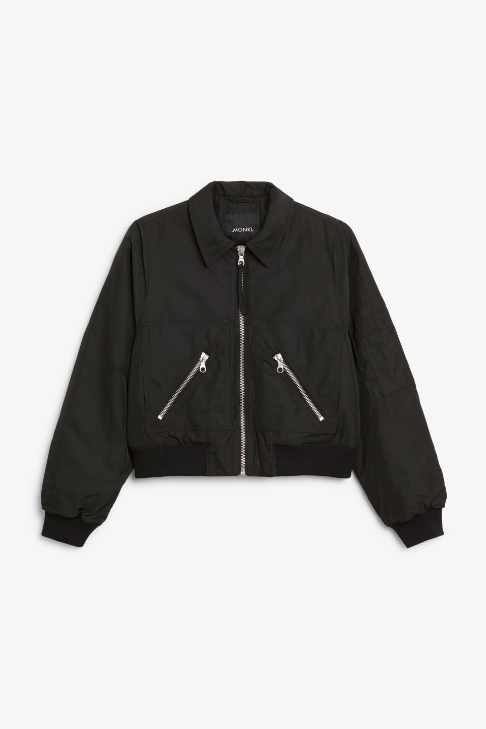 Front image of Monki boxy utility jacket in black