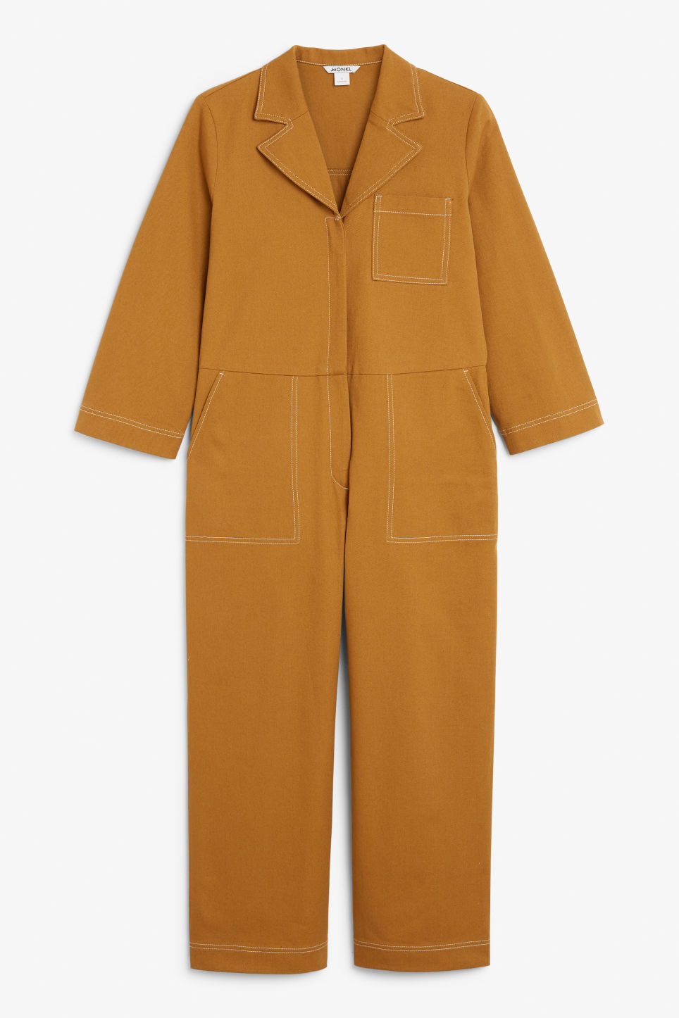 Front image of Monki utility boiler suit in yellow